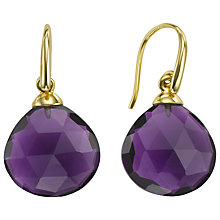 Buy John Lewis Gemstones 18ct Gold Plated Amethyst Tear Drop Earrings, Gold Online at johnlewis.com