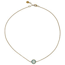Buy John Lewis Gemstones 18ct Gold Plated Aqua Chalcedony Small Circle Pendant Necklace, Gold/Aqua Online at johnlewis.com
