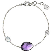 Buy John Lewis Gemstones Silver Plated Aqua Chalcedony and Amethyst Teardrop Bracelet, Purple Online at johnlewis.com