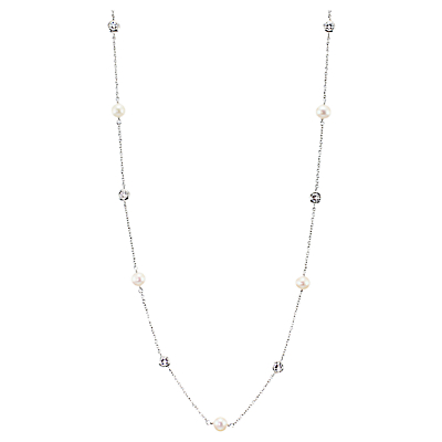 Lido Pearls Freshwater Pearl and Cubic Zirconia Linked Necklace, Silver/White
