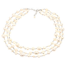 Buy Lido Three Row Spacer Freshwater Pearl Necklace, Pink Online at johnlewis.com