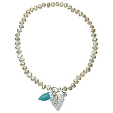 Buy Claudia Bradby Silver Freshwater Pearl Amazonite Heart Fern Necklace, White Online at johnlewis.com