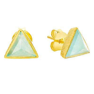 Auren 18ct Gold Vermeil Aqua Quartz Triangle Stud Earrings, Gold