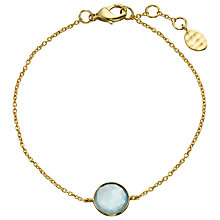 Buy John Lewis Gemstones 18ct Gold Plated Aqua Chalcedony Circle Bracelet, Gold Online at johnlewis.com