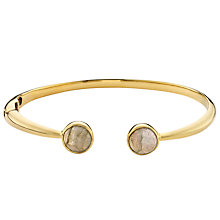 Buy John Lewis Gemstones 18ct Gold Plated Labradorite Hinged Cuff Bangle, Gold Online at johnlewis.com