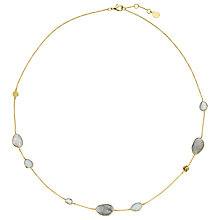 Buy John Lewis Gemstones 18ct Gold Plated Rainbow Moonstone, Labradorite and Aqua Disc Cluster Necklace Online at johnlewis.com
