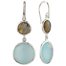 Buy John Lewis Gemstones Silver Plated Double Drop Aqua Chalcedony and Labradorite Hook Earrings, Aqua/Silver Online at johnlewis.com