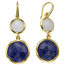 Buy John Lewis Gemstones 18ct Gold Plated Double Drop Semi-Precious Earrings, White/Blue Online at johnlewis.com