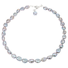 Buy Lido Freshwater Pearl Baroque Necklace, Silver/Grey Online at johnlewis.com