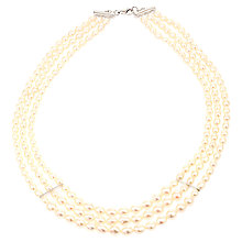 Buy Lido Triple Row Rice Freshwater Pearl Necklace, White Online at johnlewis.com