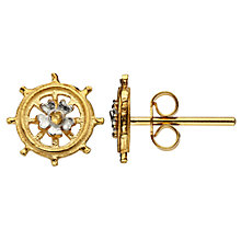 Buy Alex Monroe Baby Ship's Wheel Earrings, Gold Online at johnlewis.com