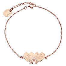 Buy Alex Monroe Double Heart Anchor Bracelet, Rose Gold Online at johnlewis.com