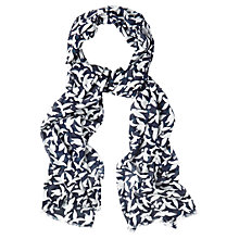 Buy White Stuff Mono Bird Print Scarf, Navy Online at johnlewis.com