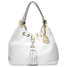 Buy MICHAEL Michael Kors Leather Camden Shoulder Bag, White Online at johnlewis.com