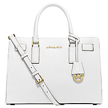 Buy MICHAEL Michael Kors Dillon Leather Satchel Bag, Optic White Online at johnlewis.com