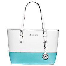 Buy MICHAEL Michael Kors Jet Set Travel Small Leather Tote Bag, Blue Online at johnlewis.com