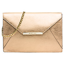 Buy MICHAEL Michael Kors Lana Envelope Leather Clutch Bag, Gold Online at johnlewis.com