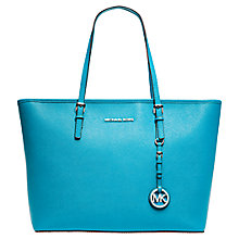 Buy MICHAEL Michael Jet Set Travel Medium Saffiano Leather Tote Bag, Aqua Online at johnlewis.com