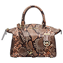 Buy MICHAEL Michael Kors Riley Small Leather Satchel, Brown Snake Online at johnlewis.com