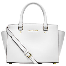 Buy MICHAEL Michael Kors Selma Saffiano Medium Leather Satchel, Optic White Online at johnlewis.com
