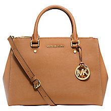 Buy MICHAEL Michael Kors Sutton Saffiano Leather Satchel, Peanut Online at johnlewis.com
