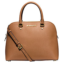 Buy Michael Kors Cindy Large Leather Dome Satchel, Peanut Online at johnlewis.com