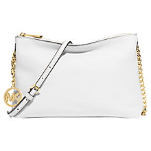 Buy MICHAEL Michael Kors Jet Set Chain Leather Messenger Bag, Optic White Online at johnlewis.com