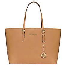 Buy MICHAEL Michael Kors Jet Set Travel Multifunctional Leather Tote Bag, Tan Online at johnlewis.com