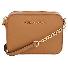 Buy MICHAEL Michael Kors Jet Set Leather Crossbody Bag, Peanut Online at johnlewis.com
