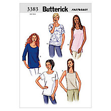 Buy Butterick Women's Top Sewing Pattern, 3383 Online at johnlewis.com