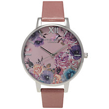 Buy Olivia Burton OB15EG10 Women's Enchanted Garden Leather Strap Watch, Rose Online at johnlewis.com