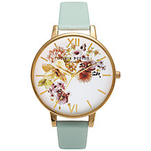 Buy Olivia Burton OB15FS53 Women's Flower Show Watercolour Leather Strap Watch, Mint Online at johnlewis.com