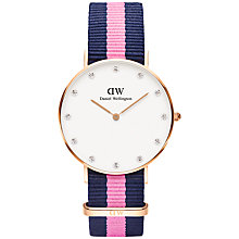 Buy Daniel Wellington 0952DW Women's Winchester Classy Canvas Strap Watch, Navy/Pink Online at johnlewis.com