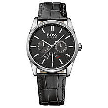 Buy Hugo Boss 1513124 Men's Heritage Leather Strap Watch. Black Online at johnlewis.com
