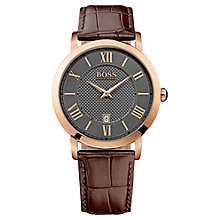 Buy Hugo Boss 1513138 Men's Gentlemen Leather Strap Watch, Black/Brown Online at johnlewis.com