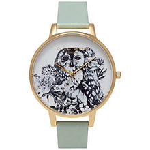 Buy Olivia Burton OB15AM56 Women's Animal Motif Owl Leather Strap Watch, Mint/White Online at johnlewis.com