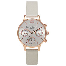 Buy Olivia Burton Women's Chrono Detail Midi Dial Chronograph Leather Strap Watch Online at johnlewis.com