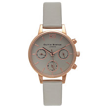 Buy Olivia Burton OB15CGM54 Women's Midi Chronograph Leather Strap Watch Online at johnlewis.com