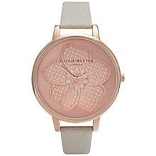 Buy Olivia Burton OB15EG04 Women's Enchanted Garden 3D Flower Leather Strap Watch, Grey/Rose Gold Online at johnlewis.com