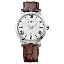 Buy Hugo Boss 1513136 Men's Gentlemen Leather Strap Watch, Brown/White Online at johnlewis.com