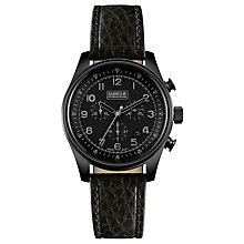 Buy Barbour BB033BKBK Men's Byker Chronograph Leather Strap Watch, Black Online at johnlewis.com