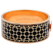 Buy Halcyon Days 18ct Rose Gold Plated Harlequin Bangle, Black Online at johnlewis.com