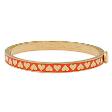 Buy Halcyon Days Skinny Hearts Gold Plated Bangle, Cream/Gold Online at johnlewis.com