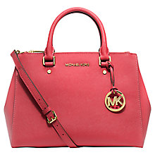Buy MICHAEL Michael Kors Sutton Leather Satchel, Watermelon Online at johnlewis.com