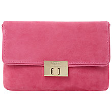 Buy Dune Brandy Foldover Suede Clutch Bag, Pink Online at johnlewis.com