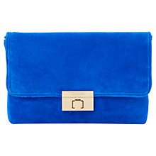 Buy Dune Brandy Foldover Suede Clutch Bag, Blue Online at johnlewis.com