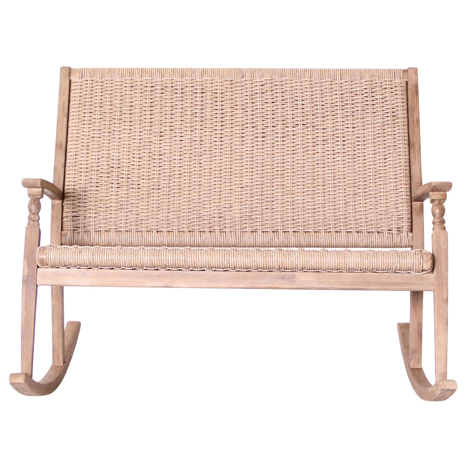LG Outdoor LG Outdoor Hanoi Wood & Weave 2-Seat Rocking Bench, FSC-certified (Acacia)