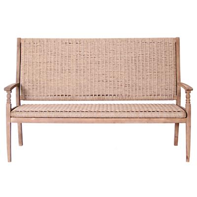 Leisuregrow Outdoor Wood & Weave 3-Seat Bench