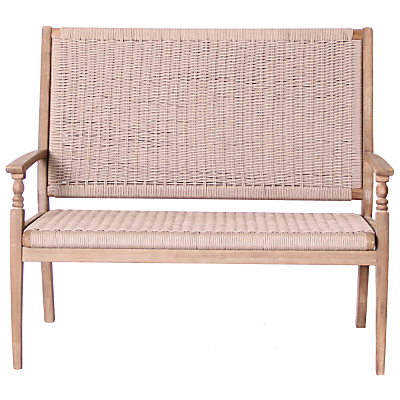Leisuregrow Outdoor Wood & Weave 2-Seat Bench