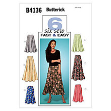 Buy Butterick Women's Skirt Sewing Pattern, 4136 Online at johnlewis.com
